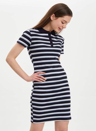 DeFacto Desenli Slim Fit Örme Elbise Lacivert